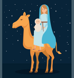 cute mary virgin with jesus in camel characters vector image