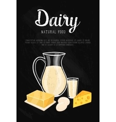 Dairy banner with natural food composition vector image