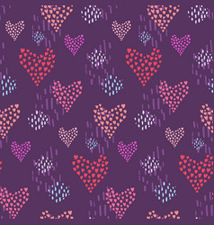 dark pattern with pink hearts and dotted elements vector image