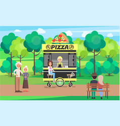 Delicious pizza street cart with vendor in park vector