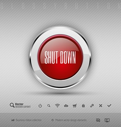 design elements Red and gray glossy button with vector image