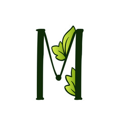Doodling eco alphabet letter mtype with leaves vector