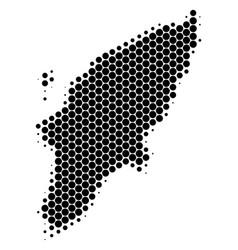 Dot halftone greek rhodes island map vector