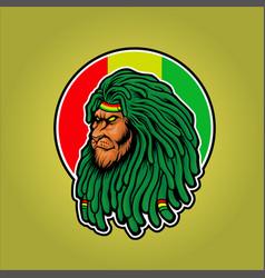 Dreadlocks head lion rasta mascot vector