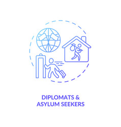 Dyplomats and asylym seekers concept icon vector