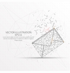 envelope low poly wire frame on white background vector image