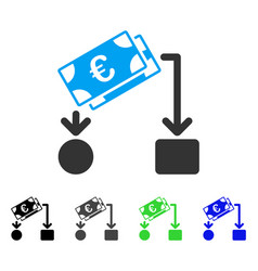 Euro cash flow flat icon vector