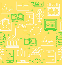 financial activities seamless pattern in line vector image