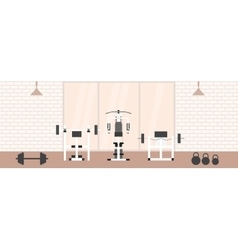 Fitness gym interior template with sports vector