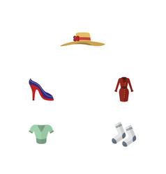 flat icon dress set of casual heeled shoe vector image