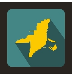 Florida yellow map icon flat style vector