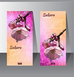 Flyer with the hand drawn sakura flower vector