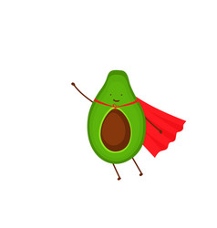 fresh fruit avocado cartoon character superhero vector image