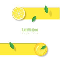 Fresh lemon fruit background in paper art style vector