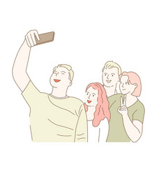 friends taking selfie on smartphone photo vector image