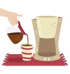 Girl pours coffee from coffee maker to cup vector