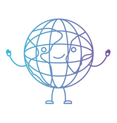 Globe world kawaii caricature with open arms vector