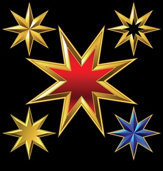 Gold eight-pointed stars vector