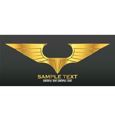 Gold wings emblem vector