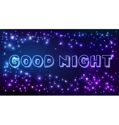 Good night text in space vector