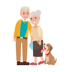 Grandmother and grandfather with pet isolated vector