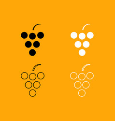 grape set black and white icon vector image