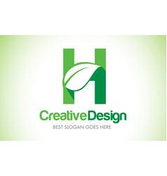 h green leaf letter design logo eco bio leaf vector image