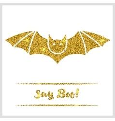 Halloween gold textured bat icon vector image vector image