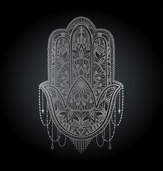 Hamsa talisman religion asian silver color vector