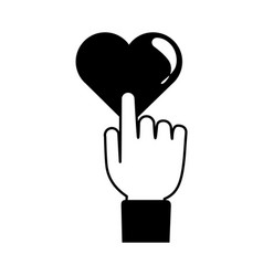 Hand touching love heart romantic passion feeling vector