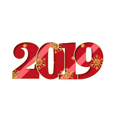 happy new year card red number 2019 with gold vector image