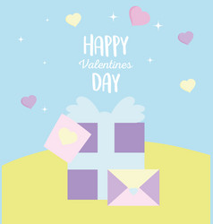 happy valentines day gift box and envelope vector image