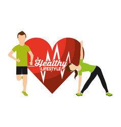 Heart rate man and woman sport activity healthy vector