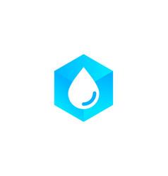 Hexagon water logo icon design vector