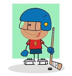 Hispanic boy playing hockey goalie vector
