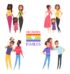 Homosexual families set vector