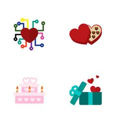 icon flat passion set of present wedding cake vector image