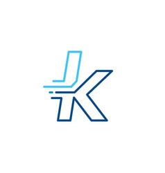 K letter dash lowercase tech digital fast quick vector