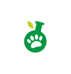 lab leaf paw pet logo icon vector image
