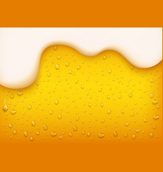 Lager beer background with white foam vector