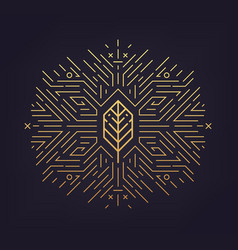 Leaf golden shape linear icon abstract vector