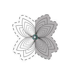 Lily flower decoration monochrome vector
