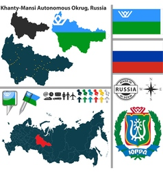 Map of Autonomous Okrug Khanty Mansi vector