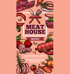 Meat delicatessen and sausages sketch vector