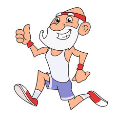 old man jogging 2 vector image