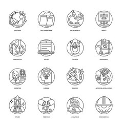 Pack of science and technology line icons vector