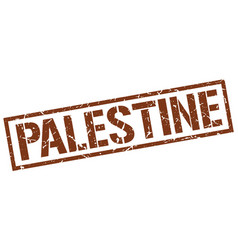 Palestine brown square stamp vector