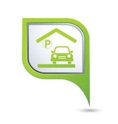 parking under roof icon on green map pointer vector image