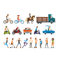people on street set various vehicles cartoon vector image
