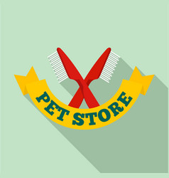 pet brush logo flat style vector image